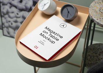 Magazine on Table Free Mockup