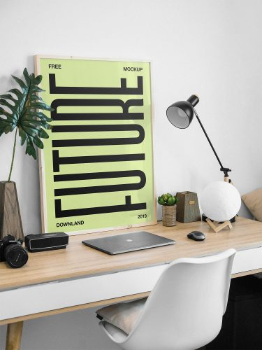 Picture Frame on a Desk Free Mockup