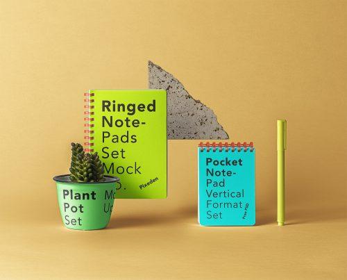Ringed PSD Notepad Set Mockup