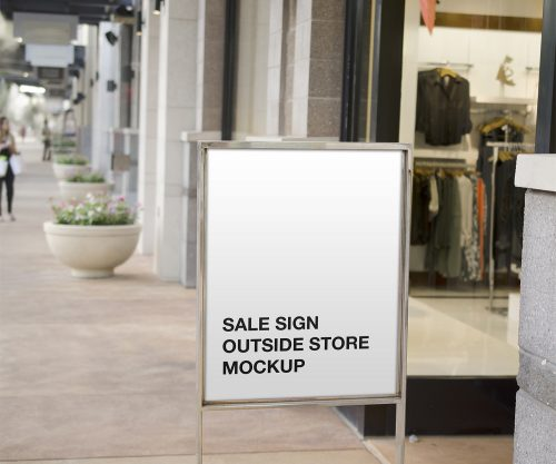 Sale Sign Outside Store Free Mockup