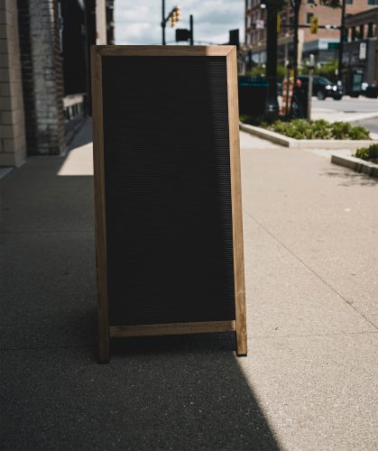 Street A-Stand Sign PSD Mockup