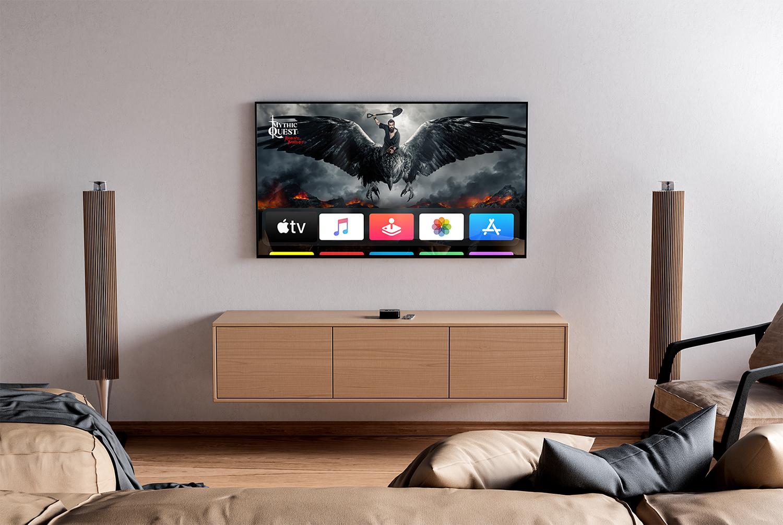 TV Free Mockup in Interior PSD