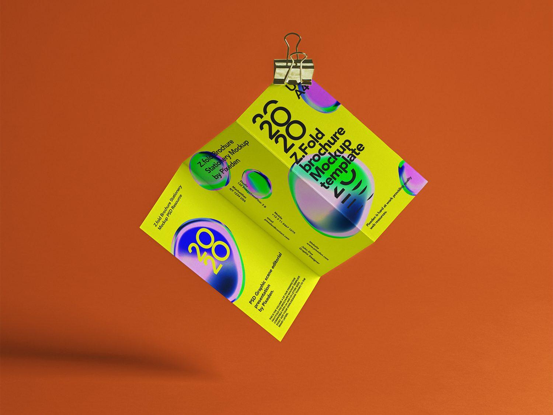 Z-Fold Brochure PSD Free Mockup