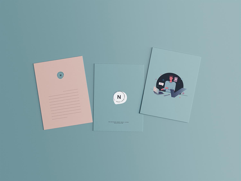 3 Postcard PSD Free Mockups
