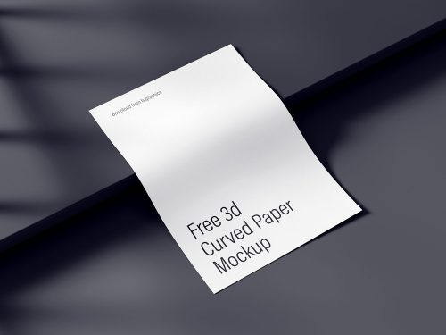 Free Curved A4 Paper Mockup