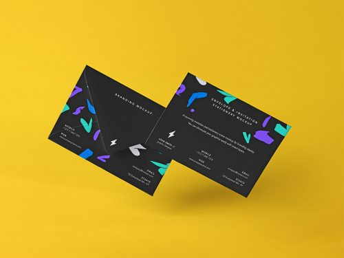 Free Envelope Set Stationery Mockup