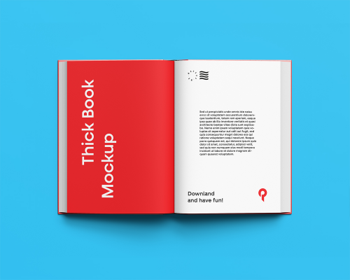 Free Open Book Mockup Top View