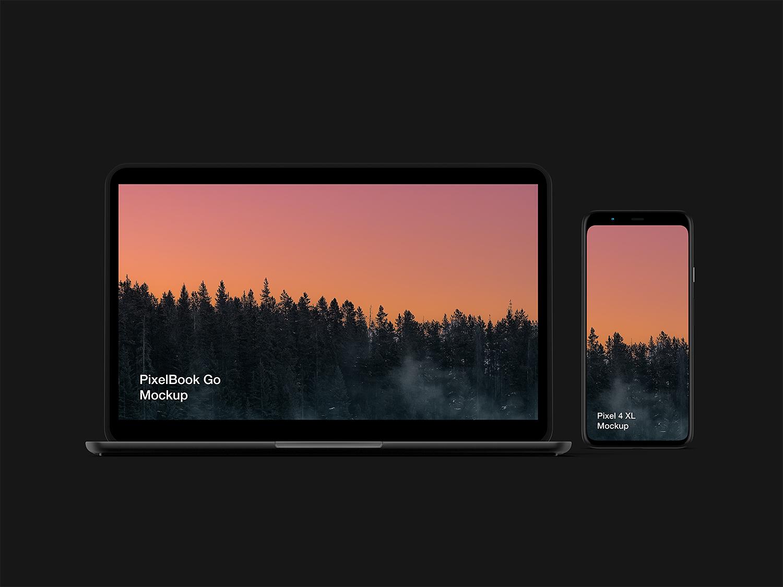 Free Pixel 4 XL and PixelBook Go Mockup