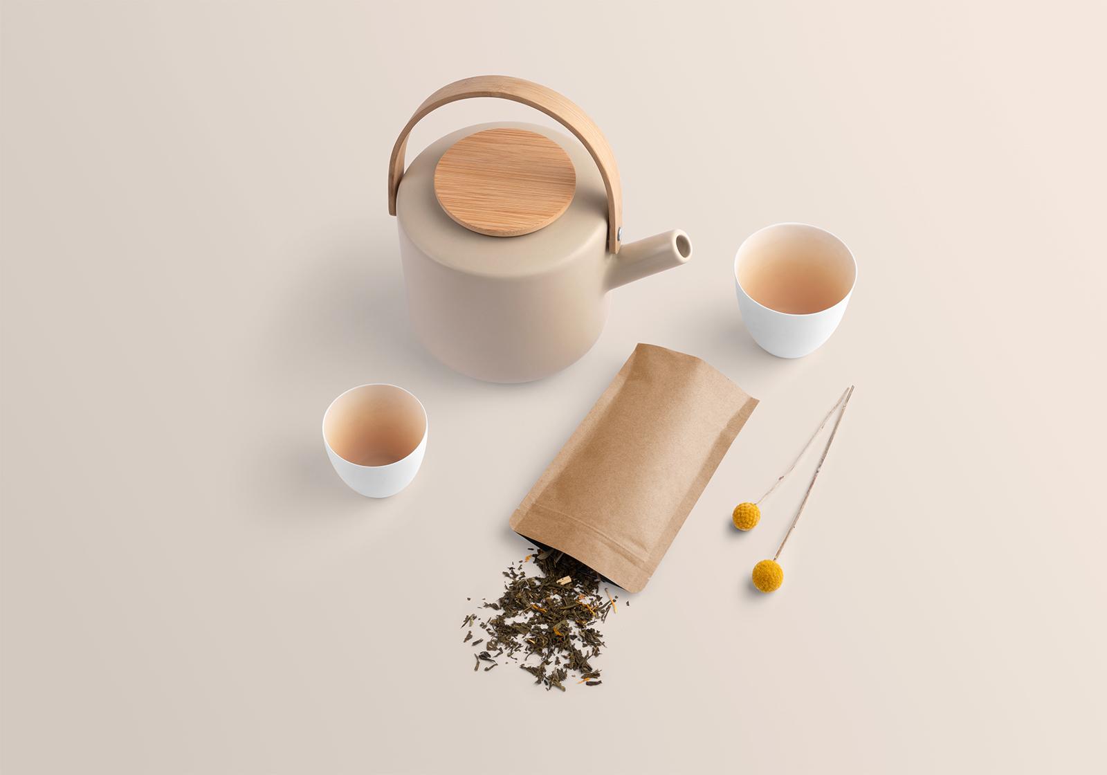 Free Tea Branding Packaging Mockup