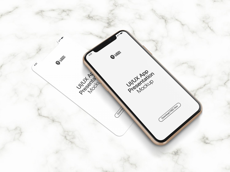 Free UI/UX App Presentation iPhone 11 Pro Mockup