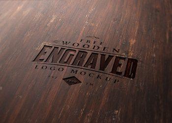 Free Wood Engraved Logo Mockup
