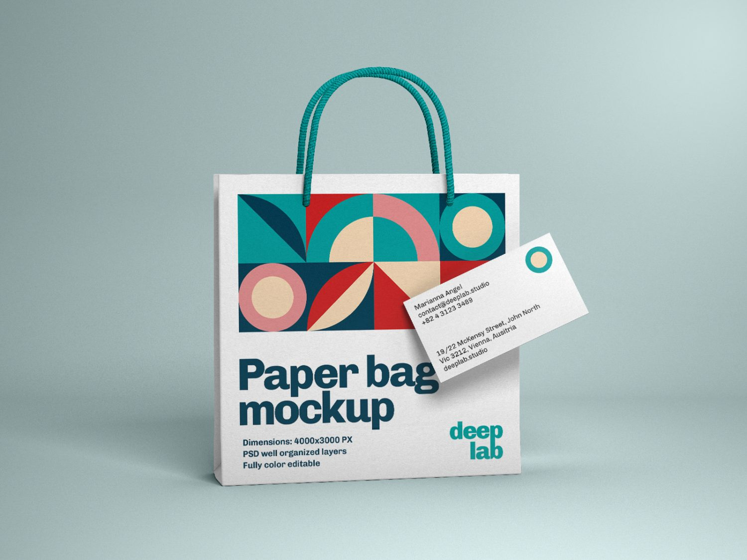 Paper Bag with Business Card Free Mockup