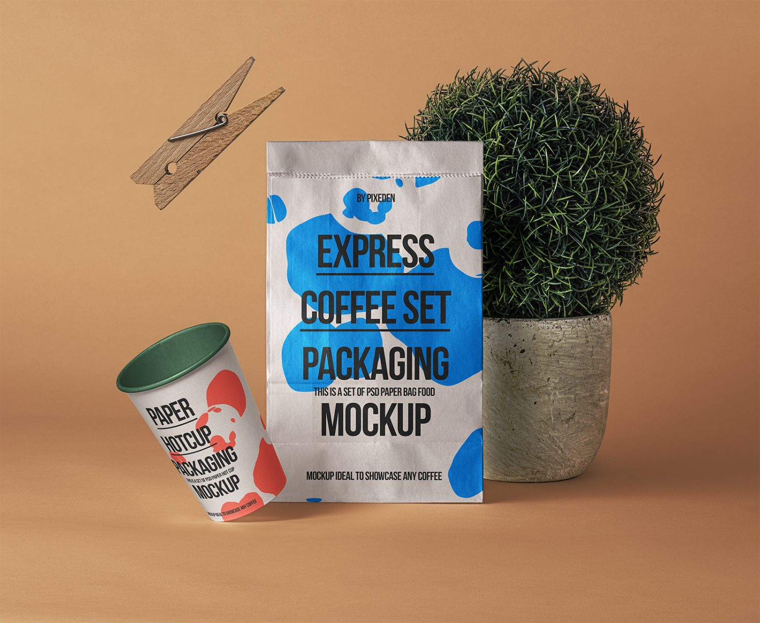 Paper Bag with Paper Coffee Cup Free Mockup