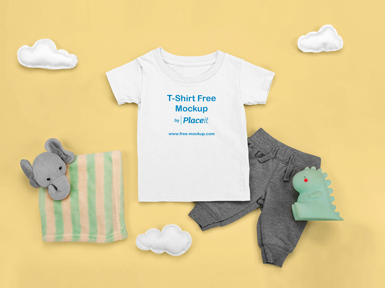 T-Shirt Free Mockup Featuring a Comfy Outfit for a Baby