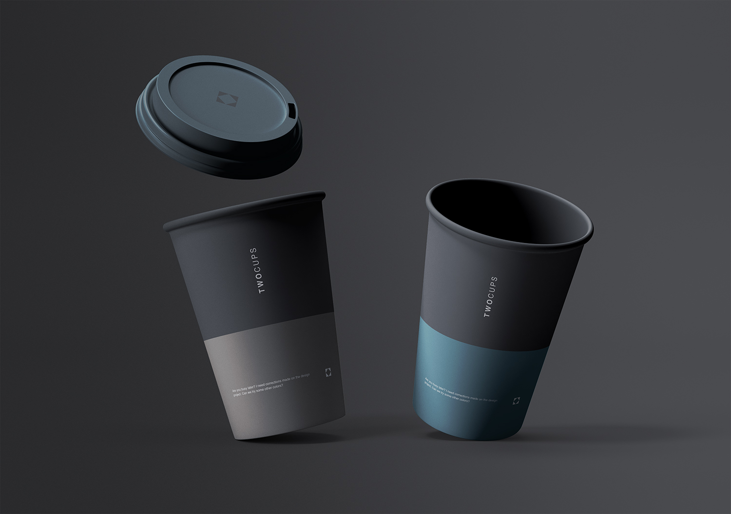 Two Disposable Coffee Cups Mockup